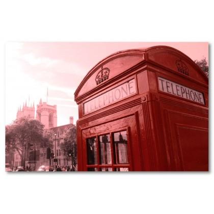 Αφίσα (κόκκινος, τηλέφωνο, τηλεφωνικός θάλαμος, Λονδίνο, τετράγωνο)